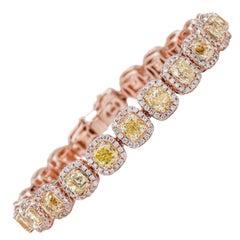 AS29 18 Karat Pink & Yellow Gold Natural Fancy Light to Yellow Diamond Bracelet