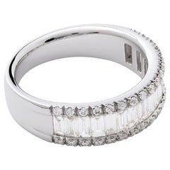 AS29 18 Karat White Gold Essential Round and Baguette Diamond Ring