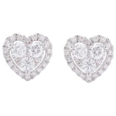 AS29 18 Karat White Gold Heart Cluster Diamond Stud Earrings
