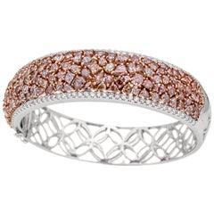 AS29 18 Karat White Gold Natural Light to Fancy Light Purplish Diamond Bangle