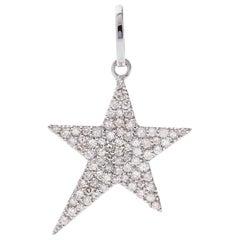 AS29 18 Karat White Gold Pave Diamond Star Pendant