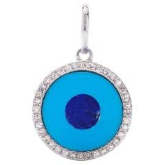AS29 18 Karat White Gold Pave Diamond Turquoise And Lapis Round Nazar Pendant