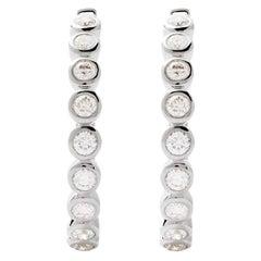 AS29 18 Karat White Gold Single Branch Round Diamond Hoop Earrings