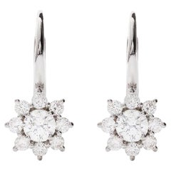AS29 18 Karat White Gold Star Cluster Diamond Hoop Earrings