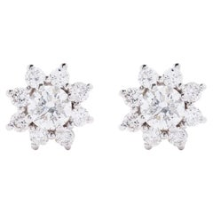 AS29 18 Karat White Gold Star Cluster Diamond Stud Earrings