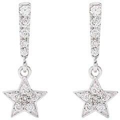 AS29 18 Karat White Gold Star Diamond Drop Earrings