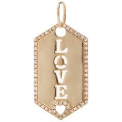 AS29 18 Karat Yellow Gold Pave Diamond Love Hex Pendant