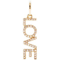 AS29 18 Karat Yellow Gold Pave Diamond Open Love Pendant
