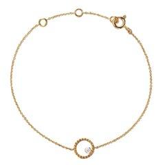 AS29 18 Karat Yellow Gold Round Beading Diamond Bracelet