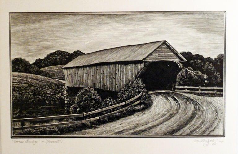 Asa Cheffetz Landscape Print - COVERED BRIDGE - VERMONT