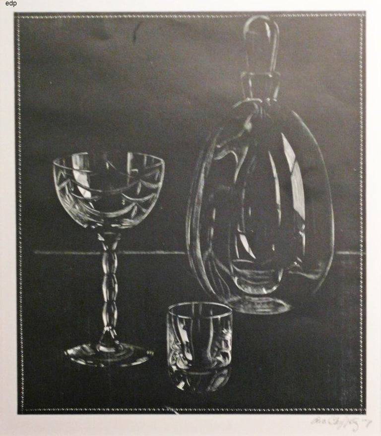 Asa Cheffetz Still-Life Print - UNTITLED - DECANTER AND TWO GLASSES