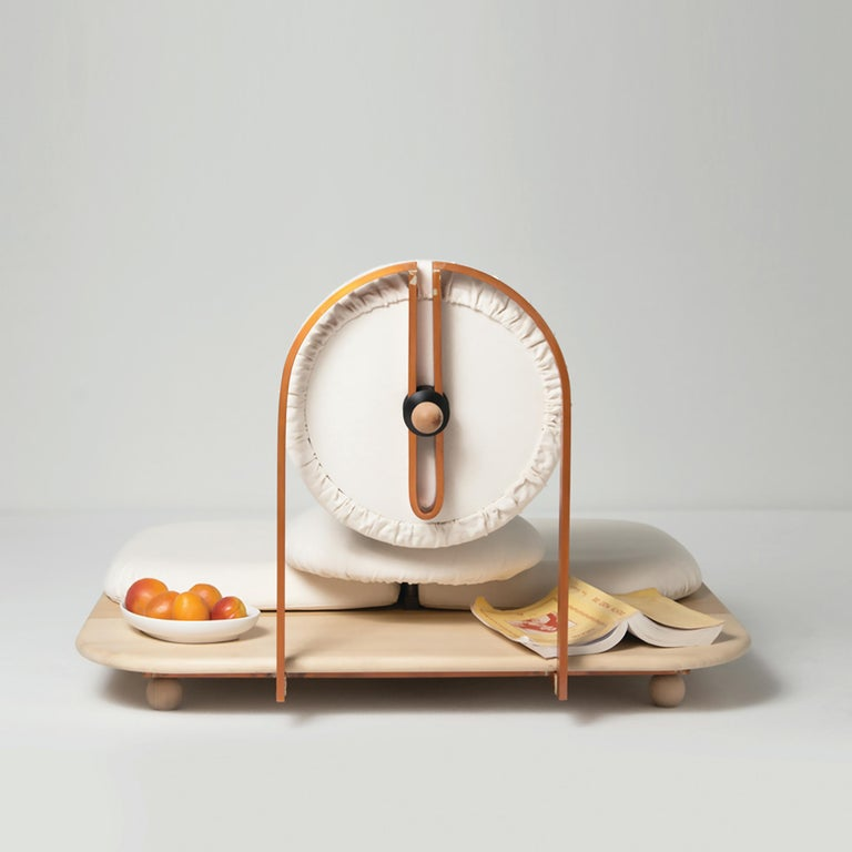 Modern ASANA Ground Chair, Neutral Cotton, Copper Frame and Wooden Base by Mario Milana For Sale