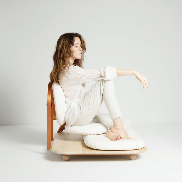 Italian ASANA Ground Chair, Neutral Cotton, Copper Frame and Wooden Base by Mario Milana For Sale