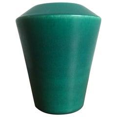 Asbo Stentøj Art Pottery of Køge Denmark Green Stoneware Vase, 1950s