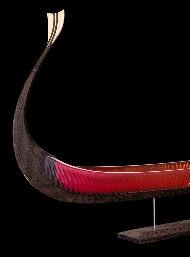 Asbroen, a red glass & wood unique Sculpture by Backhaus & Brown and Egeværk For Sale 3