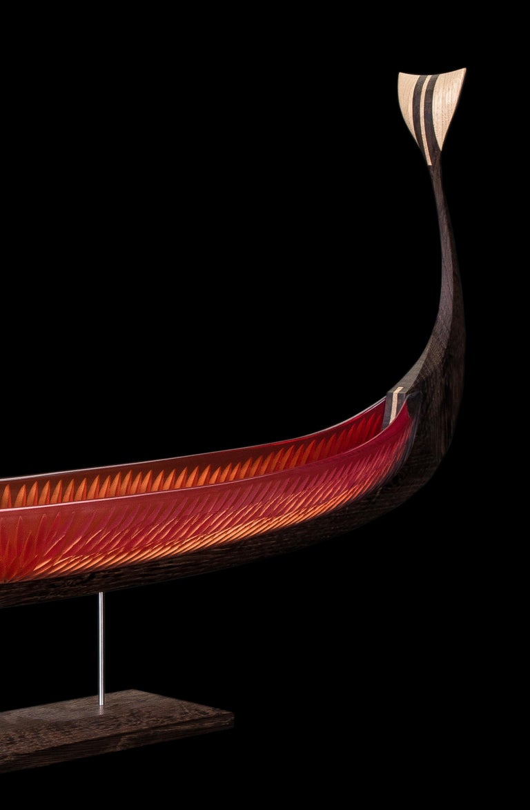 Asbroen, a red glass & wood unique Sculpture by Backhaus & Brown and Egeværk For Sale 4