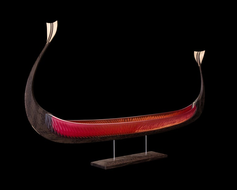 Asbroen, a red glass & wood unique Sculpture by Backhaus & Brown and Egeværk For Sale 7