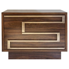 Ascens Nightstand with Two Drawers in Brazilian Walnut and Brass Handles
