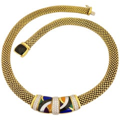 Asch Grosbardt 18 Karat Yellow Gold Necklace with Diamonds and Inlaid Stones