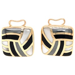 Asch Grossbardt 14 Karat Yellow Gold Mother of Pearl and Onyx Inlay Earrings