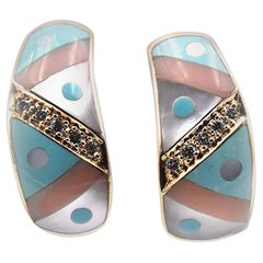 Asch Grossbardt 14 Karat Yellow Gold Mother of Pearl and Turquoise Inlay Diamond