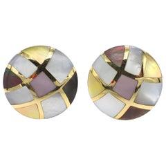Asch Grossbardt 14 Karat Yellow Gold Mother of Pearl Inlay Button Clip Earrings