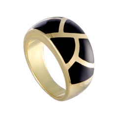 Asch Grossbardt 14 Karat Yellow Gold Tiled Black Enamel Ring