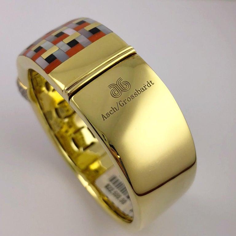 Art Deco Asch Grossbardt 18 Karat Gold and 1.39 Carat Diamond  Inlaid Bracelet For Sale