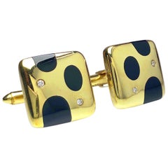 Asch Grossbardt 18 Karat Gold Cushion Cufflinks with Inlaid Onyx and Diamonds