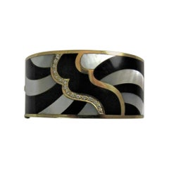 Asch Grossbardt 18 Karat Gold Diamond Black Onyx Mother-of-Pearl Hinged Bracelet