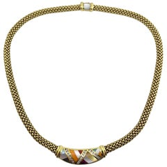 Asch Grossbardt 18 Karat Gold Mesh Necklace with Diamond and Mother-of-Pearl