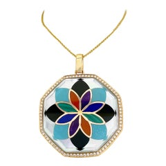 Asch Grossbardt 18 Karat Gold Mosaic Pattern Semi-Precious and Diamond Pendant