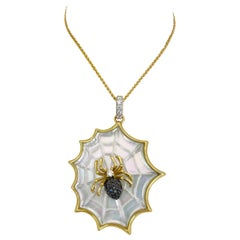Asch Grossbardt 18 Karat Gold Spider Web Pendant Mother of Pearl and Diamonds