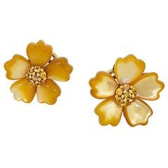 Asch Grossbardt 18 Karat Yellow Gold, Golden Mother of Pearl & Sapphire Earrings
