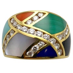 Asch Grossbardt 18 Karat Yellow Gold Ring with Diamonds and Inlaid Stones