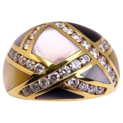 Asch Grossbardt 18 KT Yellow Gold, 1.00 CT Diamond and Mother of Pearl Dome Ring