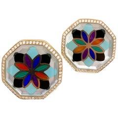 Asch Grossbardt 18k Rose Gold Mosaic Pattern Semi-Precious and Diamond Earrings