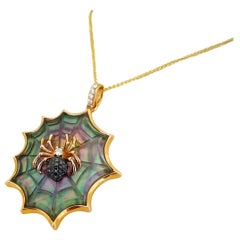 Asch Grossbardt 18KT RG Spider Web Pendant with Black Diamond & Mother of Pearl