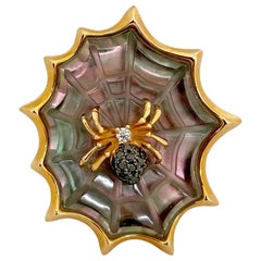 Asch Grossbardt 18KT RG Spider Web Ring with Diamond Spider and Mother of Pearl
