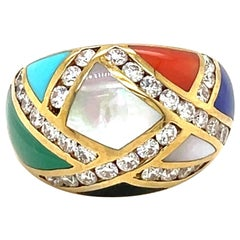 Asch Grossbardt 18KT YG Diamond 1.00Ct. & Inlaid  Semi Precious Stones Dome Ring