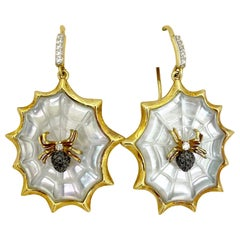 Asch Grossbardt 18KT YG Hanging Spider Web Earring Mother of Pearl and Diamond