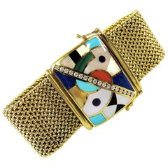 Asch Grossbardt Diamond Inlay and Mosaic Gemstone Mesh Bracelet 14 Karat Gold