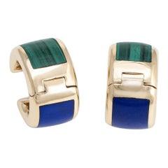 Asch Grossbardt Earrings Inlaid Lapis Lazuli Malachite 14 K Gold Estate Jewelry