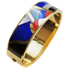 Asch Grossbardt Gem Inlaid 18 Karat Gold Bangle Bracelet