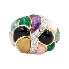 Asch Grossbardt Gold Diamond and Multi-Gem Inlay Wide Ring