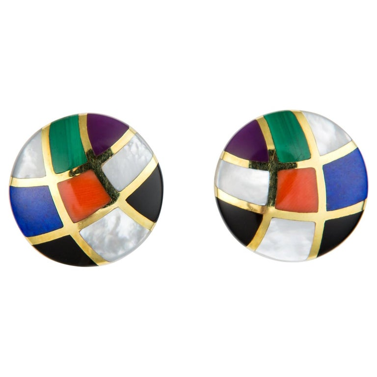 Asch Grossbardt Inlaid Colored Stone Earrings For Sale