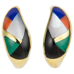 Asch Grossbardt Inlaid Colored Stone Earrings