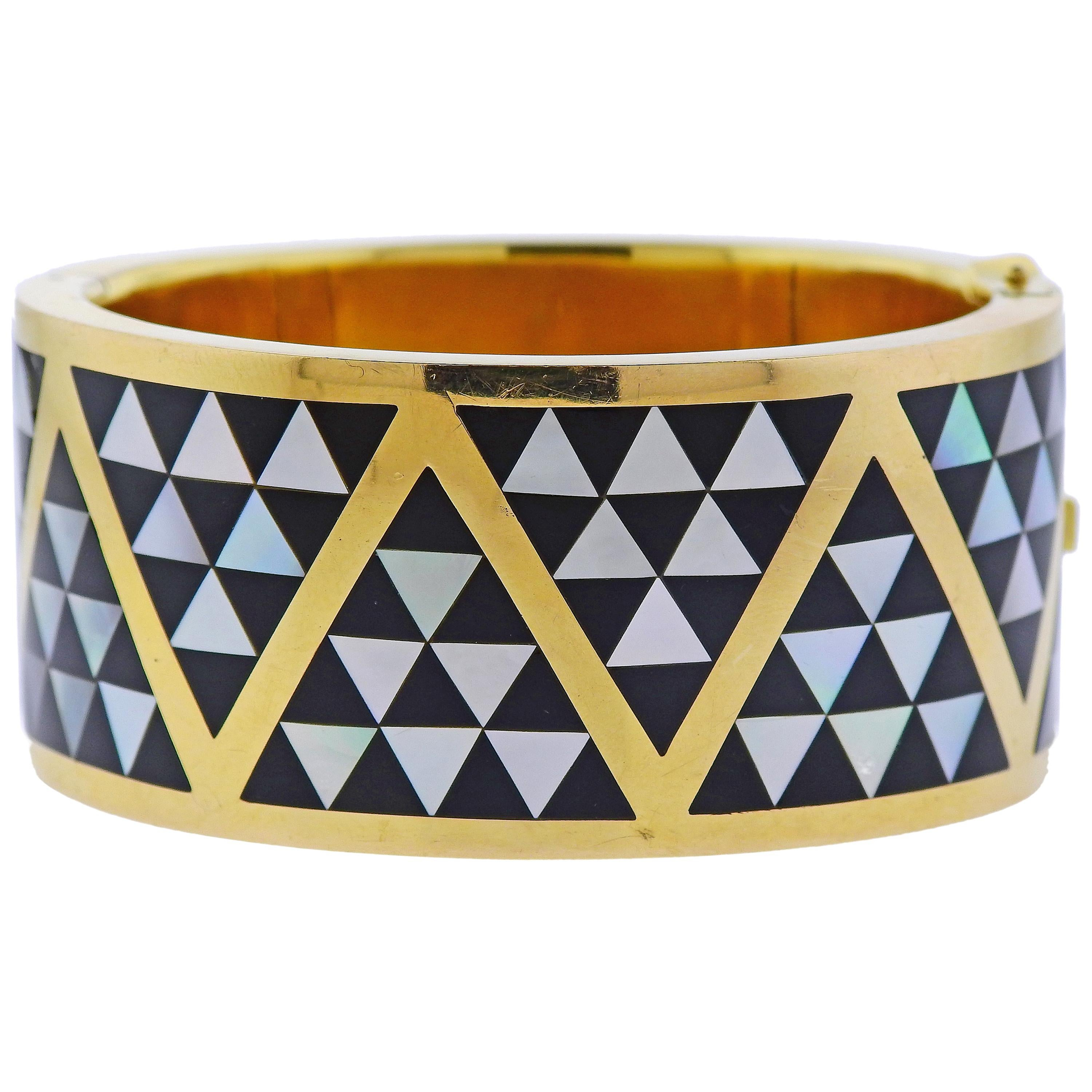 5fb8948b5 Tiffany and Co. Gold Inlay Dyed Blue Coral Mother of Pearl Bangle Bracelet  For Sale at 1stdibs