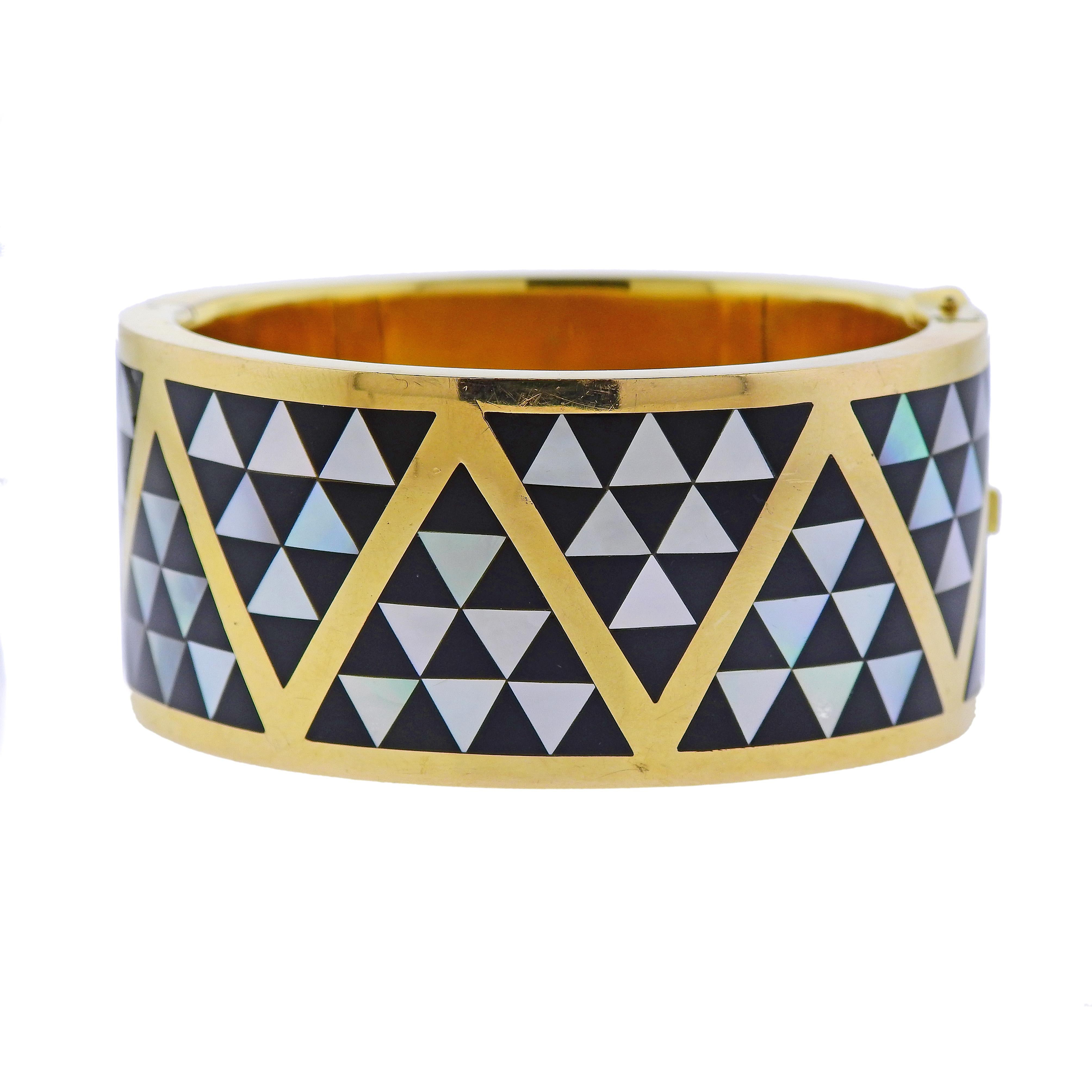 77fa771d6 Asch Grossbardt Inlay Mother of Pearl Onyx Gold Bangle Bracelet For Sale at  1stdibs