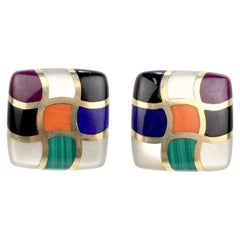 Asch Grossbardt Mosaic Multi-Gemstone Inlaid 14 Karat Gold Clip Earrings